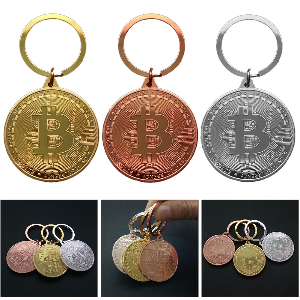 Gold Plated Bitcoin Coin Key Ring Collectible Gift Casascius Bit Coin BTC Coin Art Collection Physical Commemorative Key Chain-0