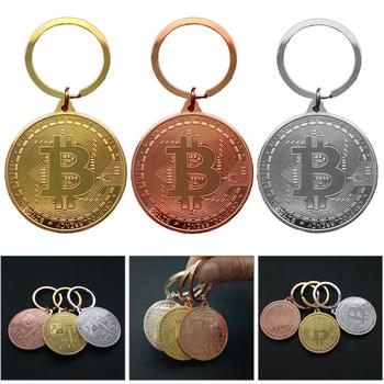 Gold Plated Bitcoin Coin Key Ring Collectible Gift Casascius Bit Coin BTC Coin Art Collection Physical Commemorative Key Chain