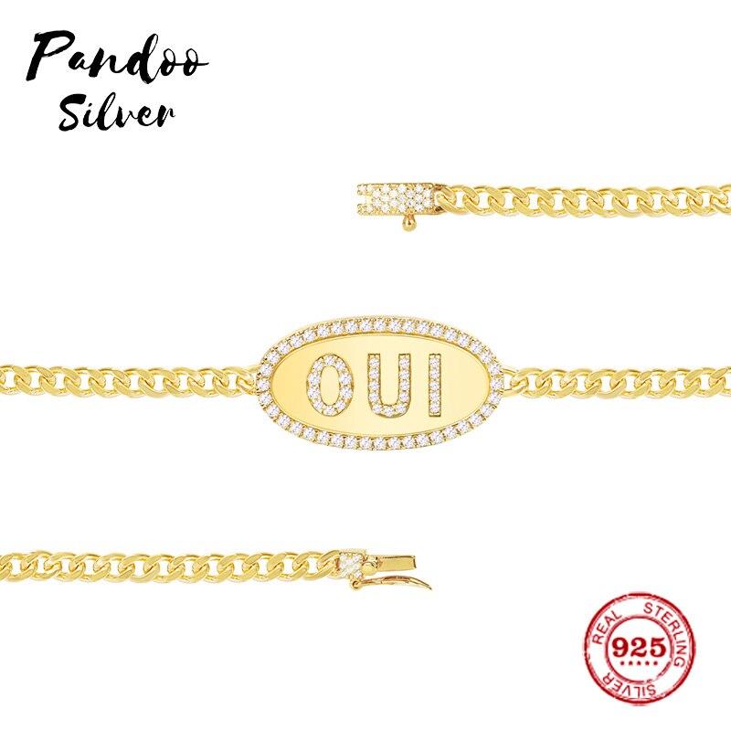 Fashion Charm Sterling Silver Copy 1:1 Copy,Yellow Silver Oui Chain Bracelet Women Monaco Luxury Jewelry Gift