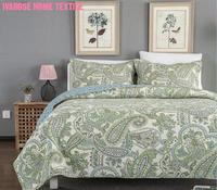 Green Paisley Printed Bedding set Full Queen Quilt Set Luxury Soft 100%Cotton Quilted Paisley Bohemia Bedspread Bedding sets|Bedspread|   -
