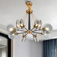 Скандинавские золотые металлические янтарные/Синие Серые стеклянные E14 светодиодные люстры для гостиной, люстры с подвеской, светильники