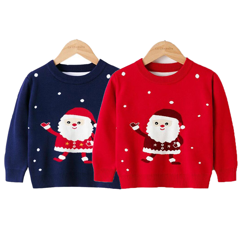 Children Sweater 2021 Autumn Cartoon Christmas Pullover Knit Warm Sweaters Birthday Costume Girls Boys Printing Sweaters Clothes 1