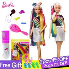 Barbie Fashionistas Rainbow Sparkle Hair Doll with Accessories and Clothes Barbie Brinquedos Fashion Girl Toys Boneca for Girls