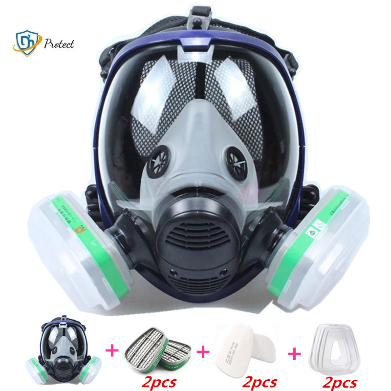 Gas mask 6800 7 in 1 6001 gas mask acid dust mask gas mask paint pesticide spray silicone filter laboratory cartridge welding