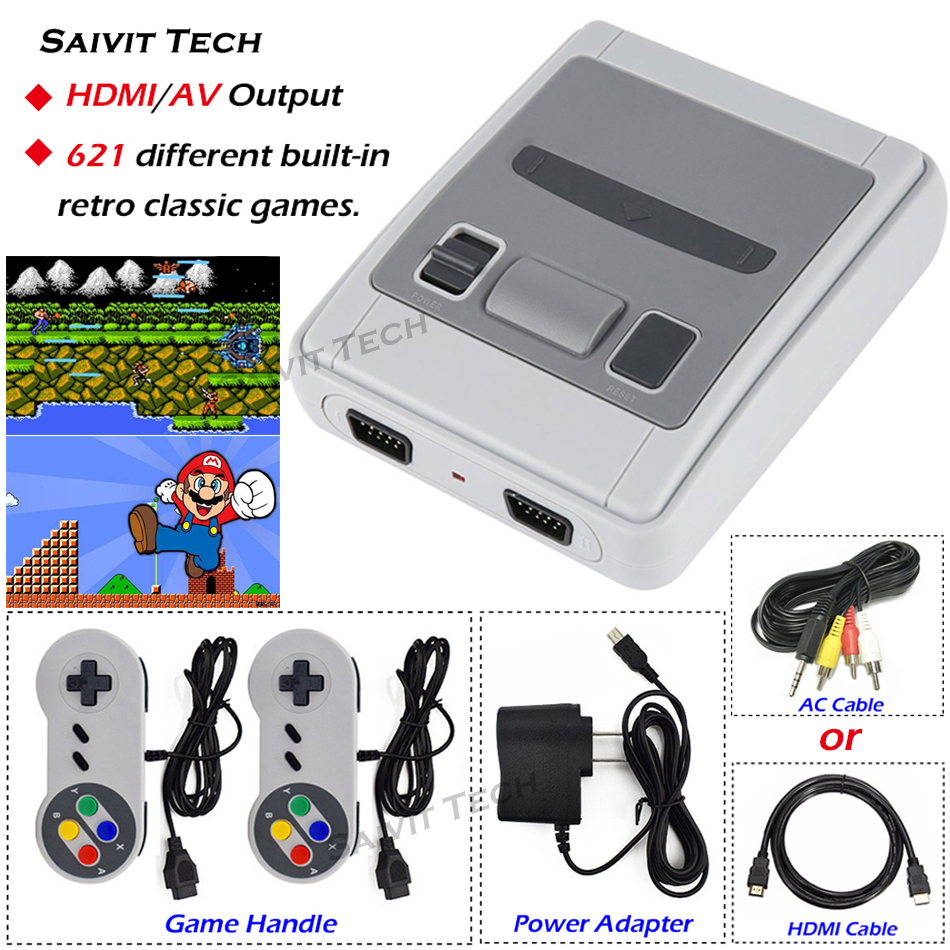 2019New Video Game Console Built-in 621Games 8Bit Family Mini Retro Classic AV/HDMI Output Handheld Gaming Player for Super SNES