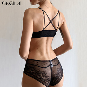 Image 3 - Front Closure Bra Panties Sets Lace Embroidery Women Lingerie Set Gather Brassiere Black Thick Push Up Bras Sexy Underwear Set