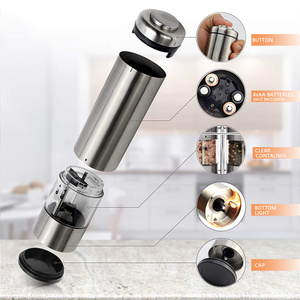 Image 2 - Pepper Mill Electric Pepper Grinder Salt Mill 2PCS with metal Stand  LED Light Grinding Tool Automatic Mills for kitchen Tools