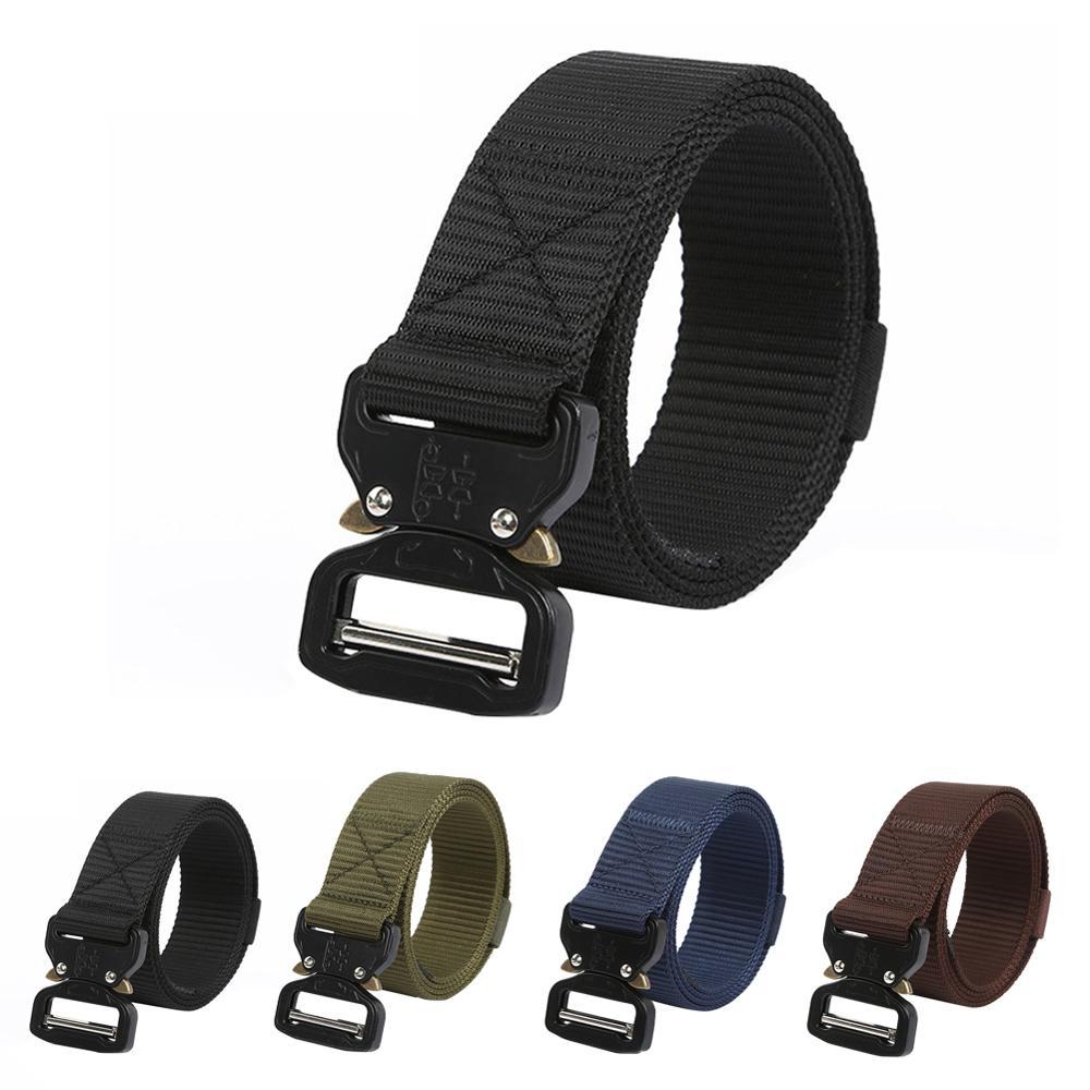 Military Fan Training Belt Camouflage Belt Automatic Metal Buckle Training Nylon Belt Adjustable Outdoor Accessories