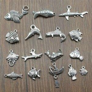 15 шт рыбы амулеты античный серебряный цвет тропический Шарм-подвески в форме рыбы для браслетов рыбные амулеты Изготовление ювелирных изде...