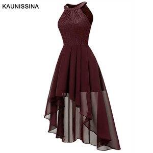 Image 3 - KAUNISSINA קוקטייל שמלת נשים אלגנטי הלטר סימטרי שיפון שיבה הביתה שמלות Femmale סקסי חלוק מסיבת נשף שמלות