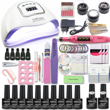 Manicure Set 80W Nail Lamp Nail Set &10 Color UV Gel Nail Polish Tools Set Extension gel Nail Art Kits for Manicure Nail files