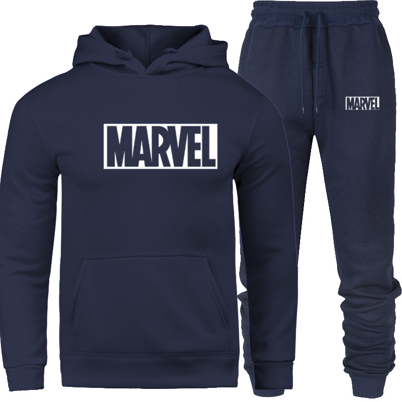 2019 MARVEL Prints New Brand Tracksuit Fashion Hoodies Men Sportswear Two Piece Sets Fleece Thick Hoody+Pants Sporting Suit Male