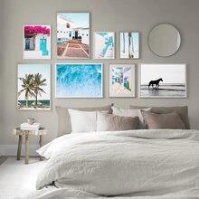 Скандинавский тропический пейзаж, Современная морская пляжная девушка, холст, картина, скандинавский постер, печать, Настенная картина для ...