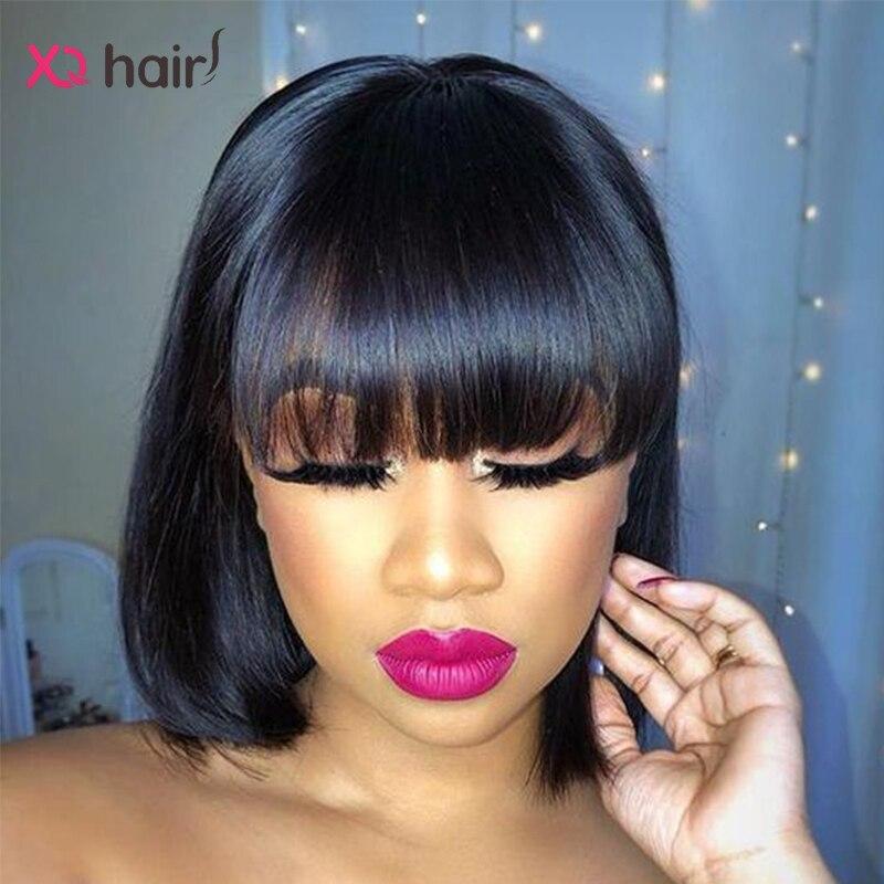 XQ-peluca recta con corte Bob con flequillo, pelucas de cabello humano brasileño para mujeres negras, 100%, cabello Remy, máquina completa de peluca, pelucas de Bob corto