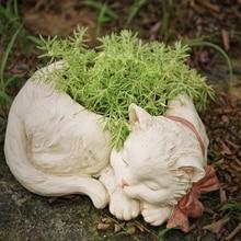 Creative Bonsai Cute White Cat Flower Pot Resin Succulent Plant Pot Balcony  Potted Plant Garden Home Vase Micro Landscape Decor