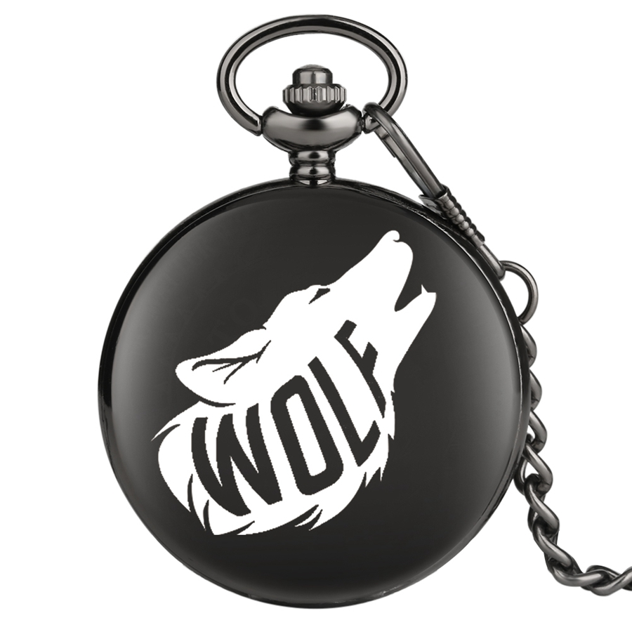 3D Wolf Personalized Custom Quartz Pocket Watch Retro Black Smooth Fob Watches Chain Clock For Men Women Children Dropshipping