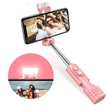 Mini Selfie Stick Wireless Bluetooth For iPhone Candy Color Handheld Extendable LED Fill Light