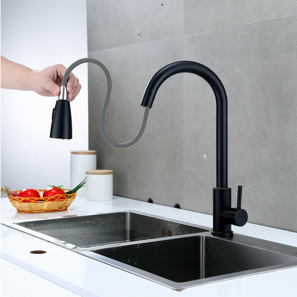 Kitchen Sink Faucet Pull Out Sprayer Swivel Spout Matt Black Mixer Tap Flexible
