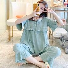 100% Cotton Thin Maternity Nursing Sleepwear Suit Summer Plus Size Loose Breastfeeding Clothes Sweet