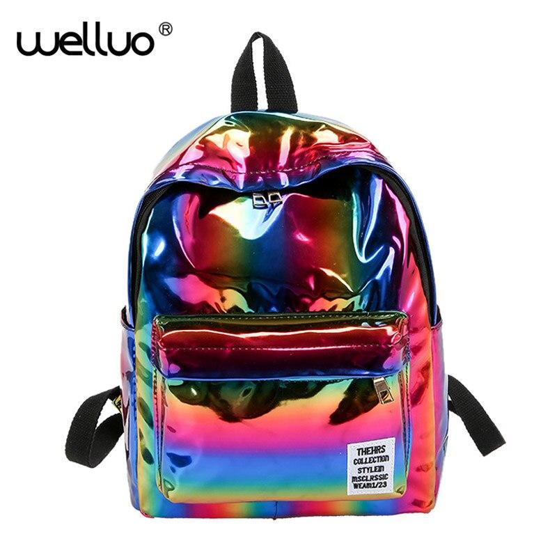 Holographic Glitter Women Backpack For Girls Bag School Laser Silver Book Backpack College Rucksack Mochilas Mujer 2019 XA398WB