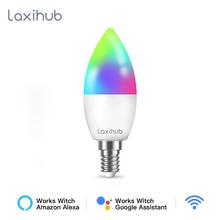 Laxihub lampadina intelligente Tuya lampadina Wifi RGB 12W 15W cambia colore luce LED E14 C37 110V 220V APP compatibile Alexa Google Home