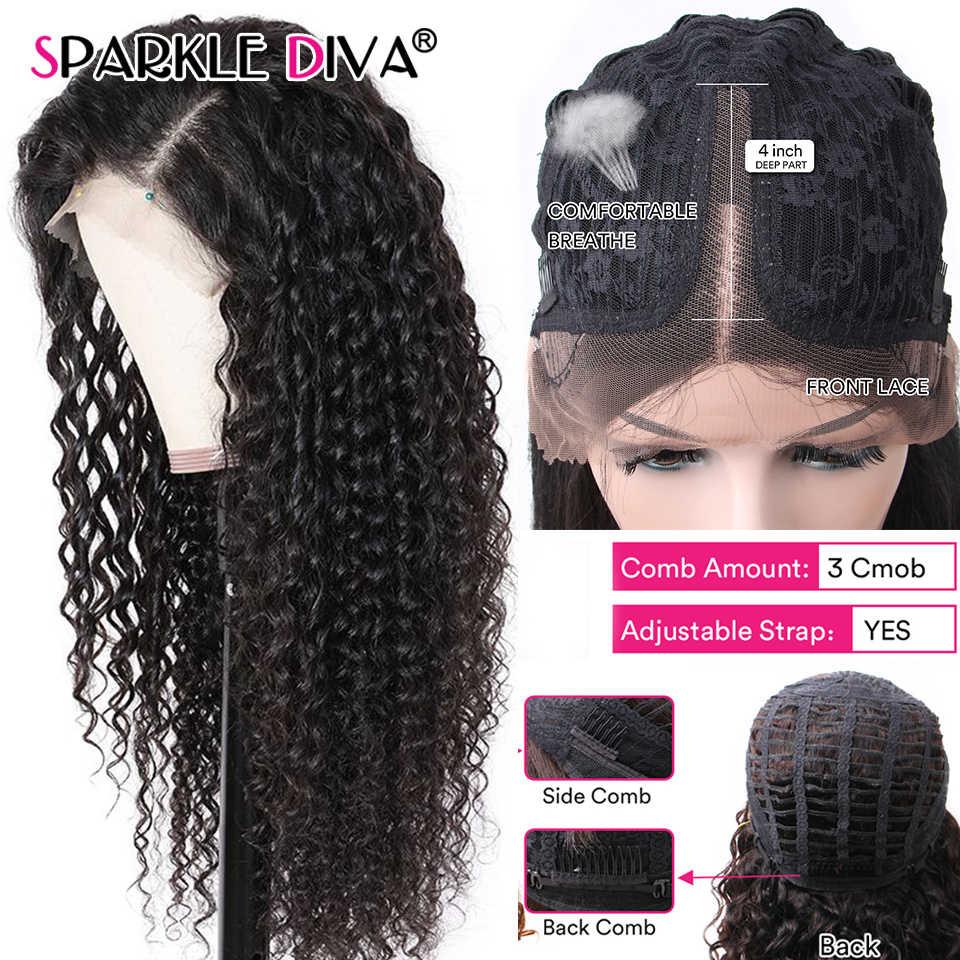 Rizado rizado parte de encaje pelucas de cabello humano 150% de densidad 10-26 brasileño 13*1 peluca con malla frontal Pre arrancado con el pelo del bebé Remy Peluca de encaje