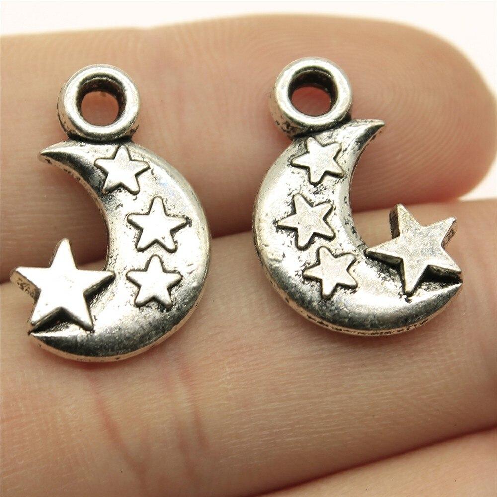 10 шт. 21x14x3 мм 2 цвета s античный серебряный цвет античная бронза луна и звезды Подвеска полумесяц луна звезды очаровательные