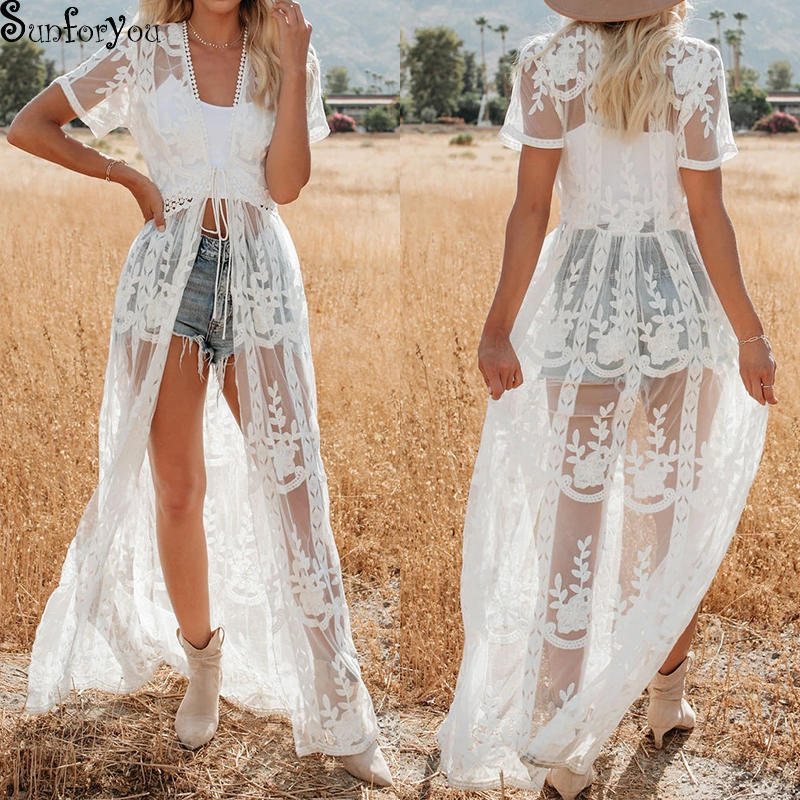 White Mesh Cover Up Womens Beachwear Embroidery Swim Cover Up For Women Robe De Plage Kimono Playa Bikini Cover Up Beach Tunic