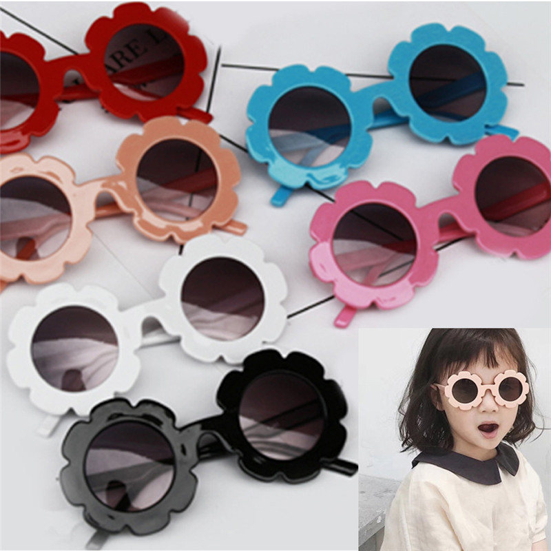 Kids Sunglasses Children Fashion Brand Boys Girls Anti-UV Flower Side Outdoor Glasses Summer