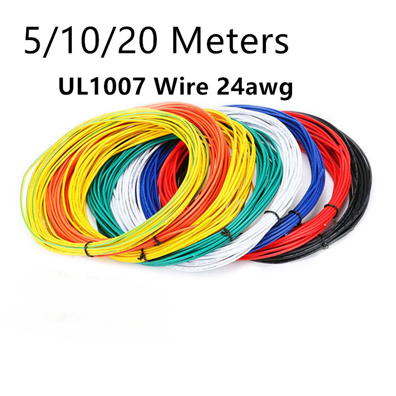 5/10/20 Meters <font><b>UL1007</b></font> Wire 24awg 1.4mm PVC Electronic Cable UL Certification image