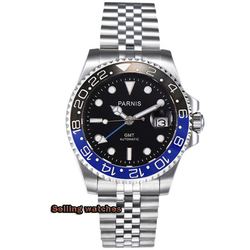 40mm PARNIS Sapphire Crystal GMT Automatic machinery movement luminous men's watches Blue & black ceramic bezel