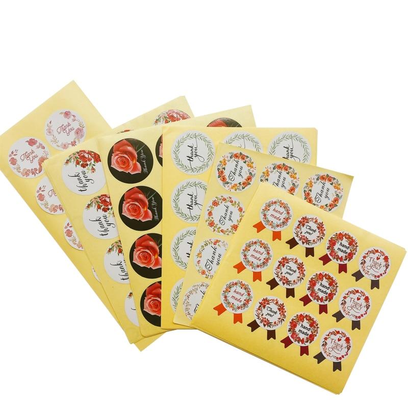 120pcs/lot Round Vintage Flower Wreath Thank You White Seal Kraft Baking Sticker Gift Stickers