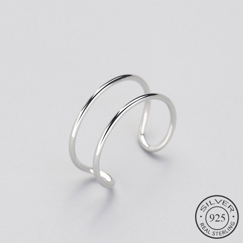 Minimalist Geometric Double line Adjustable Ring Genuine 925 Sterling Silver Trendy Fine Jewelry For Charm Women Bijoux