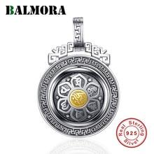 BALMORA 925 스털링 실버 360 신속한 회전 여섯 단어 sutra 펜던트 & 목걸이 여성을위한 남성 불교 멋진 패션 쥬얼리