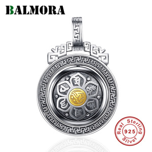 Image 1 - BALMORA 925 Sterling Silver 360 Rapid Rotating Six Words Sutra Pendants & Necklace for Women Men Buddhism Cool Fashion Jewelry
