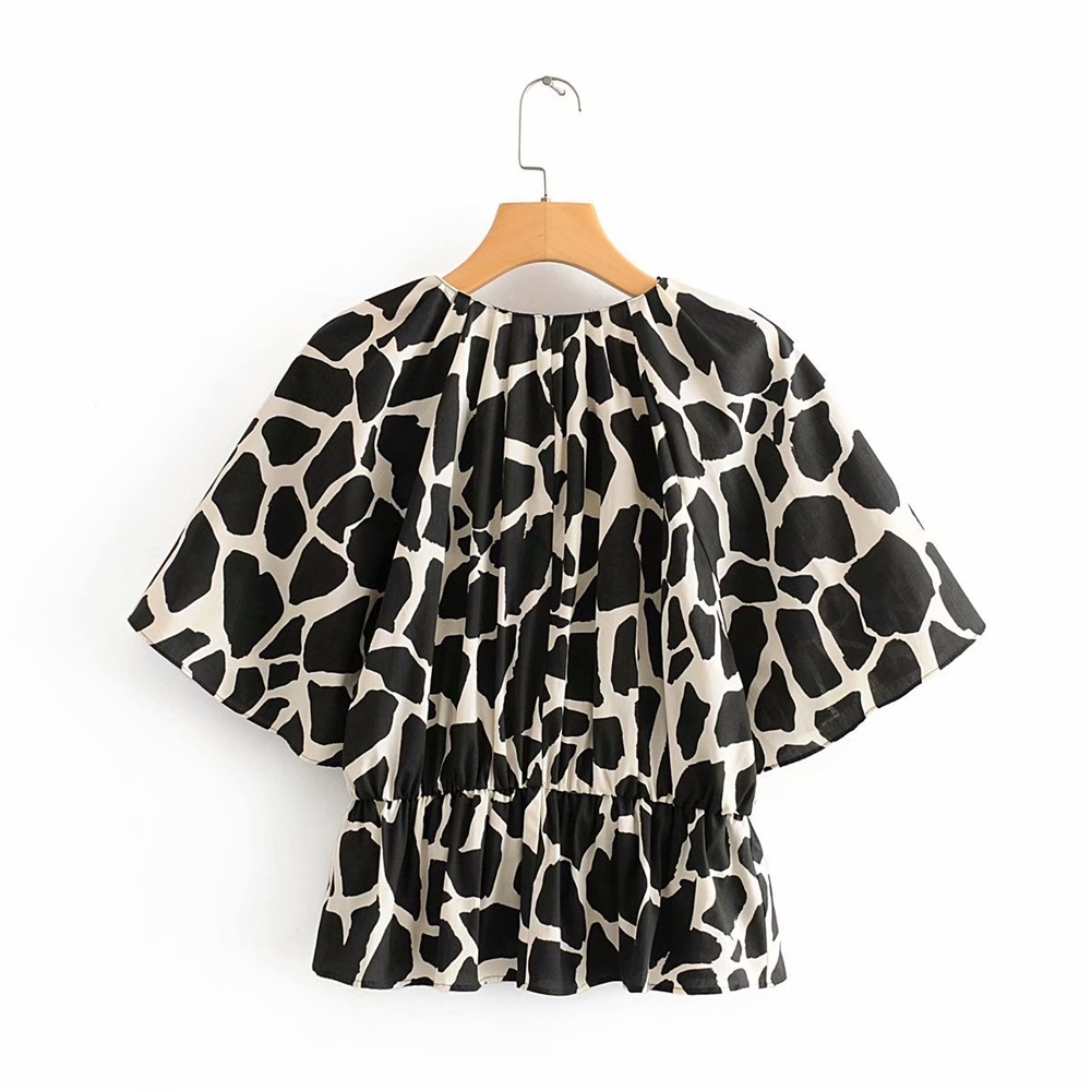 2020 Summer Women's New V-neck Short-sleeved Stretch Waist Versatile Waist Shirt Pleated Layered Printed Animal Print Pullover S