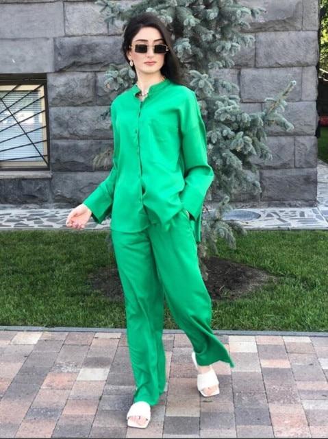 Za 2021 Green High Waist Pants Women Adjustable Elastic Drawstring Waist Vintage Trousers Woman Casual Summer Wide Leg Pants 4