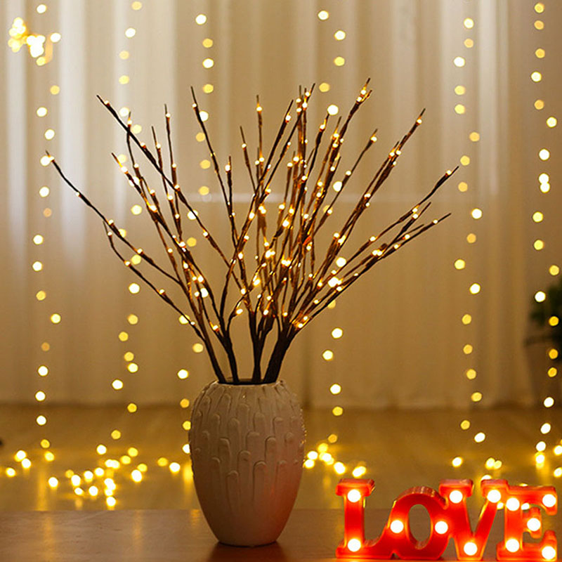 Branch Light 20LED Twig Tree Lights Flexible Willow Lighted Branch For Indoor Shop Windows Vase Table Living Room 75cm Long
