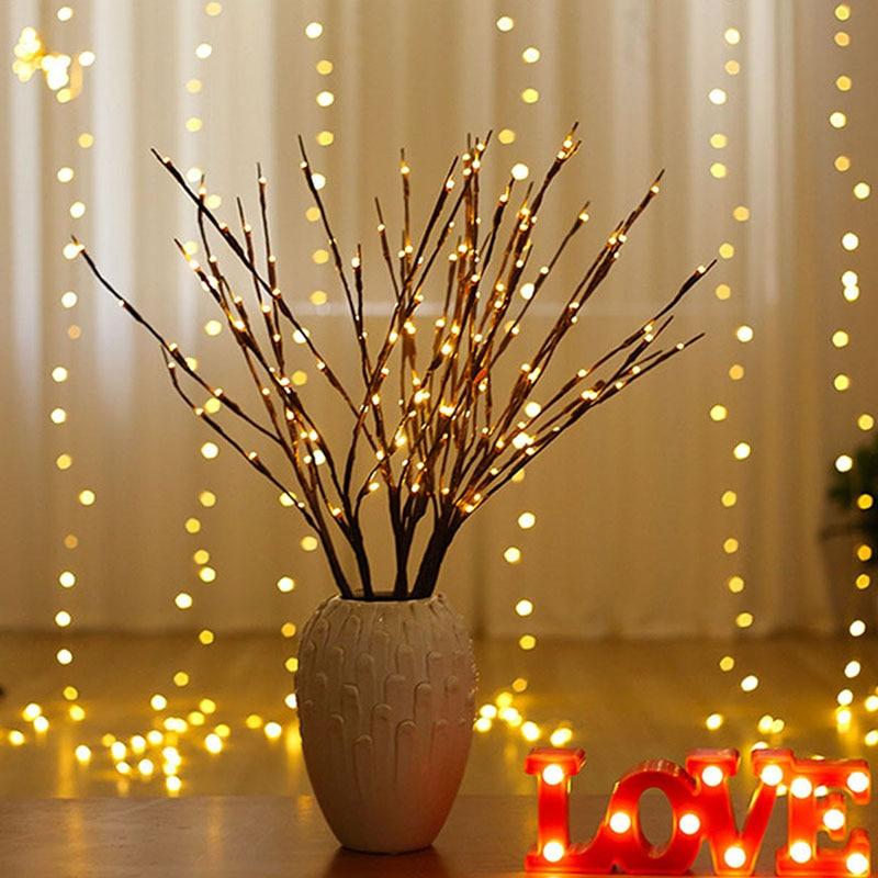 Branch Light 20LED Twig Tree Lights Flexible Willow Lighted Branch For Indoor Shop Windows Vase Table Living Room 75cm Long