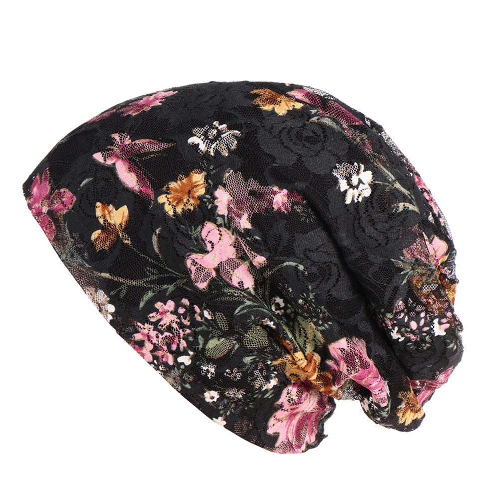 Muslim Female Hats For Women 2019 Headscarf Floral Print Turban Chemotherapy Wrap Caps For Ladies Flower Cancer Chemo Hats Black