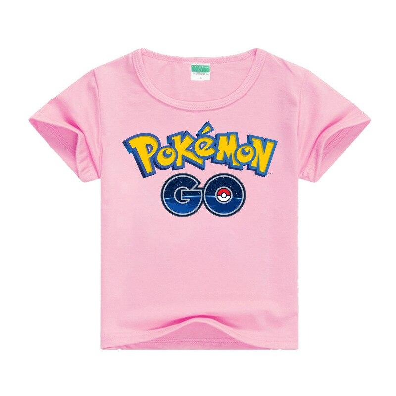 Cartoon pokemon pink girl T-shirt top casual cotton printed cute short sleeve childrens clothing