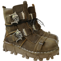 Men's Vintage & Unique Look Genuine Leather Ankle Motorcycle Military Combat Boots with Skull