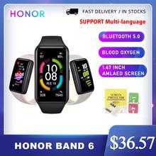 Honor band 6 pulseira inteligente rastreador de fitness spo2 natação à prova dbluetooth água bluetooth monitoramento de freqüência cardíaca música chamando smartband