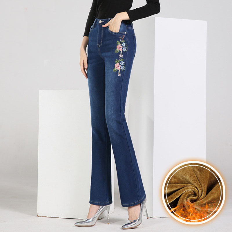 FERZIGE 2019 New Winter Warm Jeans Woman High Waist  Embroidery Trousers Female Elastic Skinny Jeans Flare Pants Blue Plus Size