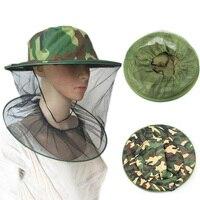 Gorros de pesca para exteriores, sombrero de apicultura de jardín, redes de camuflaje para Mosquito, gorra de red, Protector facial de malla para insectos
