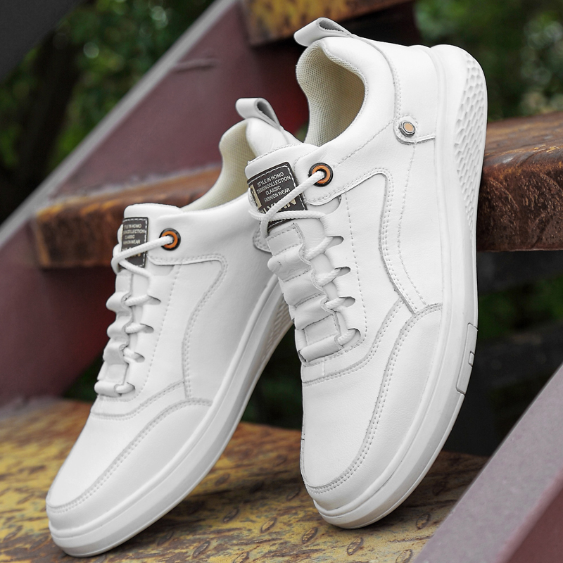 Men's Casual Shoes Sneakers For Men Flats Trainers Walking Shoes British Style Shoe Lace Up PU Leather Men Shoes White !
