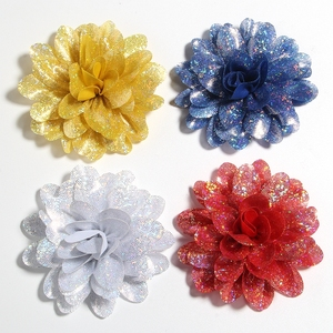"""Image 5 - 50PCS 8CM 3.1"""" New Artificial Metallic Fabric Flower For Hair Accessories Chiffon Shiny Scallop Flowers For Wedding Boutique"""