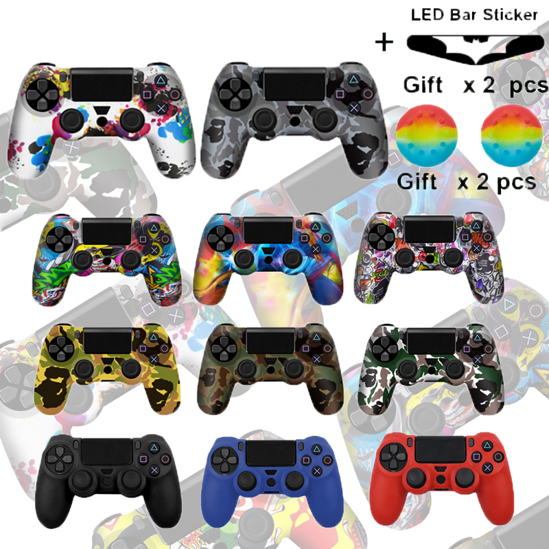 Camo Silicone Gel Guards sleeve Skin <font><b>Case</b></font> For <font><b>PS4</b></font> <font><b>Controller</b></font> Grips Cover <font><b>Case</b></font> Caps For Playstation 4 Pro/Slim Durable Thumbstick image