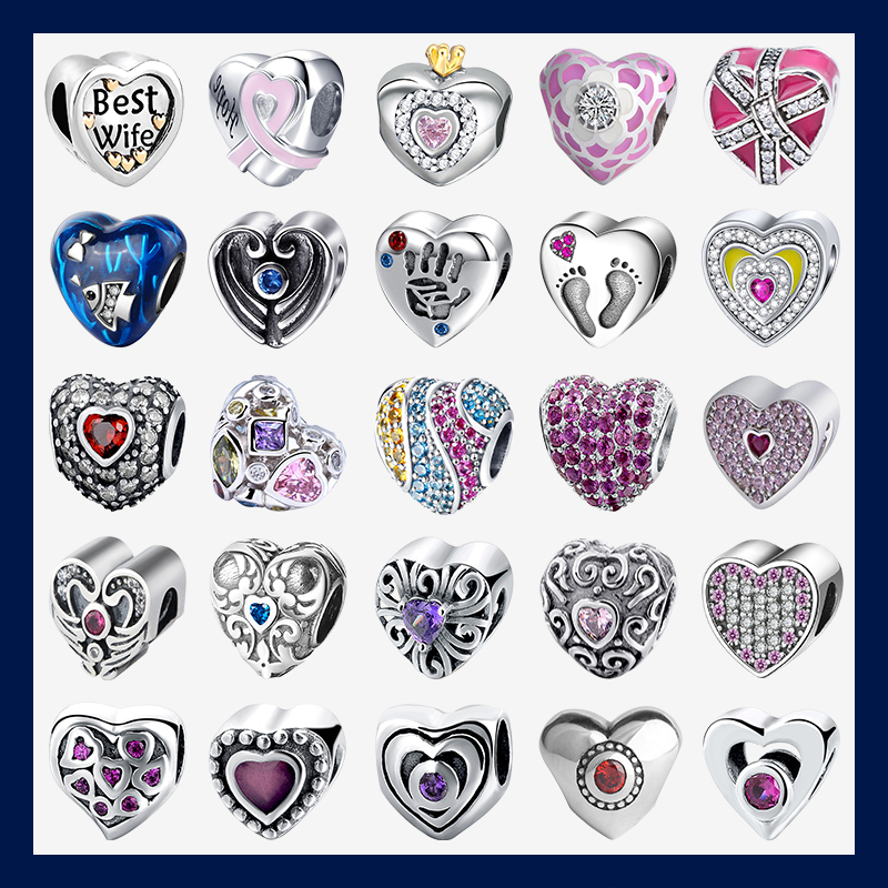 Strollgirl Love Collection 925 Sterling Silver Heart Shape Charms Beads Fit Pandora Original Bracelet Jewelry