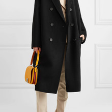 Black Solid Long Winter Fashion Wool Coats Double Breasted W